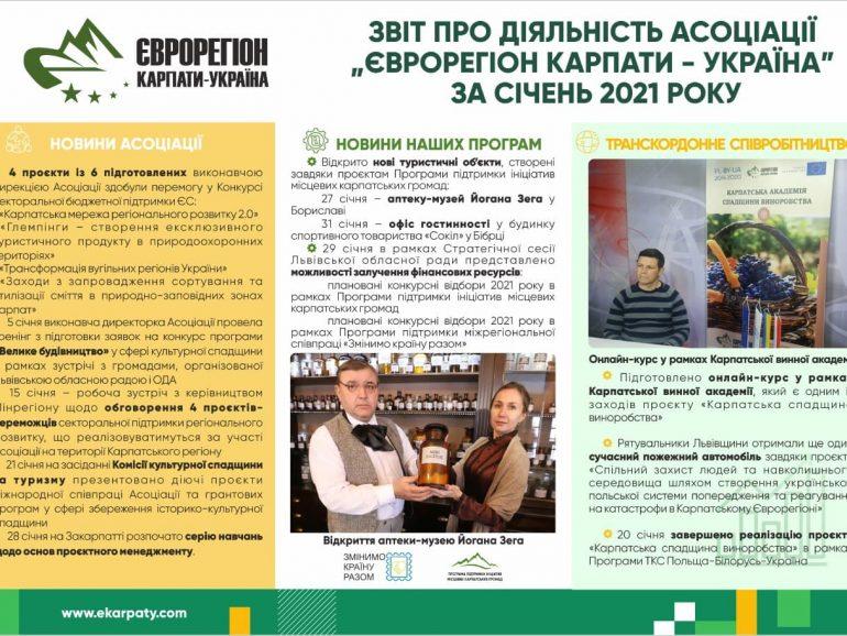 Короткий підсумок роботи Асоціації «Єврорегіон Карпати – Україна» за січень